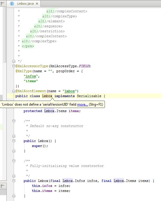 IntelliJ IDEA: How to generate 'serialVersionUID' | NetLicensing