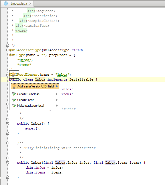 IntelliJ IDEA - serialVersionUID