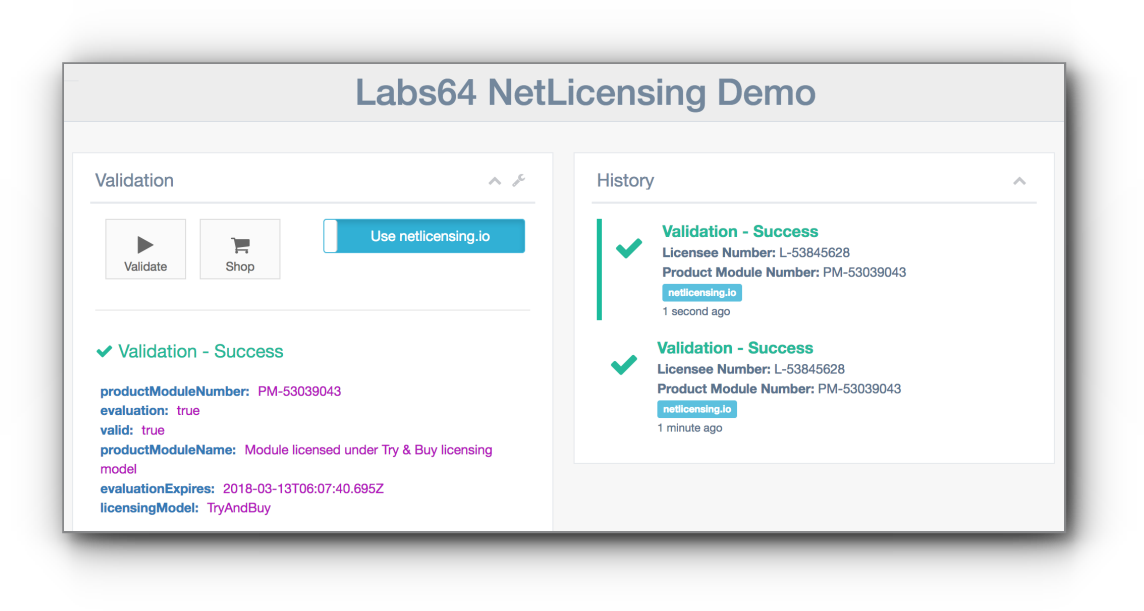 NetLicensing Demo Web Application